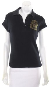 Morphine Generation Polo Collared Shirt Skull Crest Celebrity Top Black