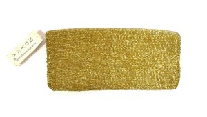 Moyna Zip Opening Fold Over Style Bright gold Clutch