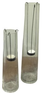 Glass Hurricane Candle Holder Set Of 2