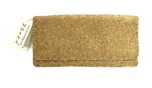 Moyna Zip Opening Fold Over Style Matte gold Clutch