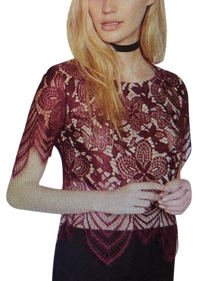 c43b72d13e9 Express All Over Lace Tee Burgundy/Tan Top - Tradesy