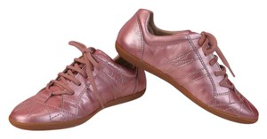 Dior GIRLS PINK METALLIC LEATHER CANNAGE LACE UP SNEAKERS 32 1