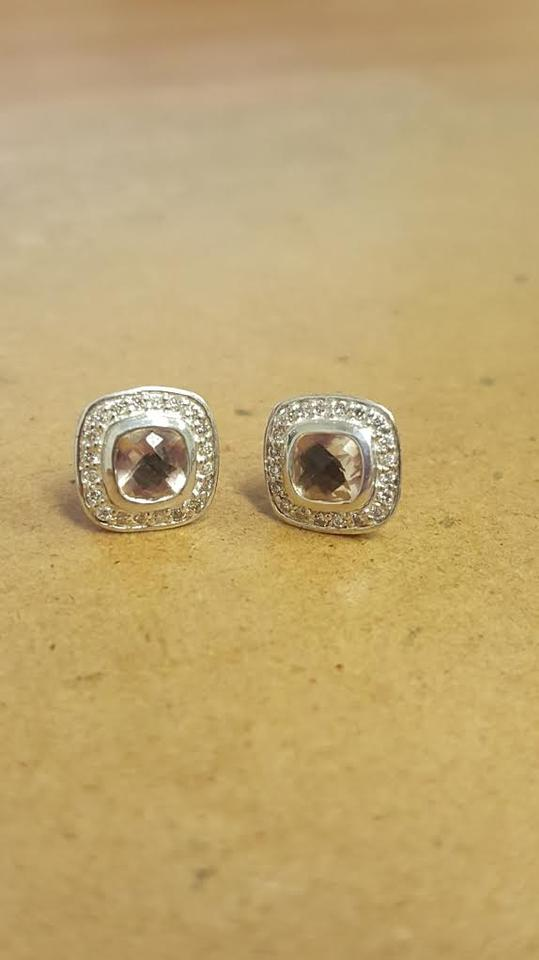 David Yurman Morganite Pee Albion Diamonds 5mm 100 Nwot Earrings