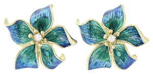 Cartier Cartier Flower Blossom Earrings - 18k Gold Diamonds Enamel Clip-On