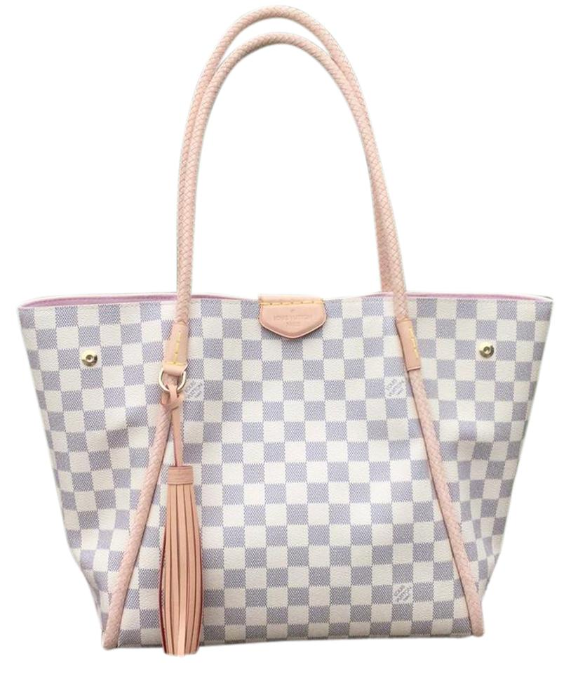 a2c6c4f59ab6 Louis Vuitton Propriano Damier Azur Pearl White and Blue Gray with Rose  Ballerine Reserved Coated Canvas Natural Cowhide Leather Handles Trim.