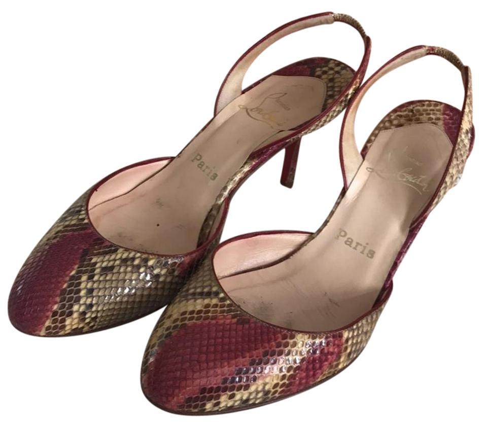 7cf1b1b9ed9d Christian Louboutin Camel and Red Tout-rond Python Pumps Size US 9 ...