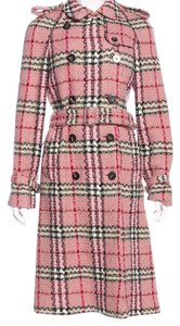 Burberry Tweed Belted Nova Check Plaid Wool Trench Coat
