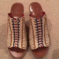 Tory Burch ivory tan navy Sandals Image 1