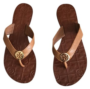Tory Burch Tan/Gold Tumbled Leather Sandals