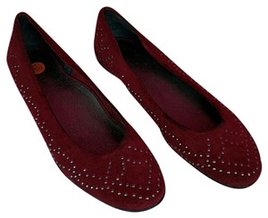 Van Eli Studed Suede Leather Burgandy Red Flats
