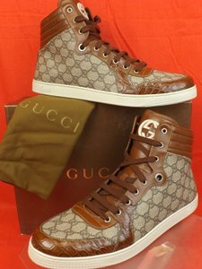 e29af637a53 Gucci Beige Cuir Mens Coda Canvas Croc Leather Hi Top Sneakers 14.5 15.5   224778