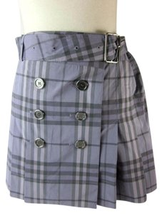 Burberry Check Silver Buckle Skirt