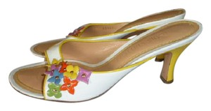 Louis Vuitton WHITE WITH YELLOW ACCENTS MULTI-COLOR LOGO Mules