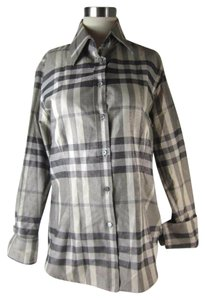 Burberry Metallic Check Button Down Shirt Silver Gray