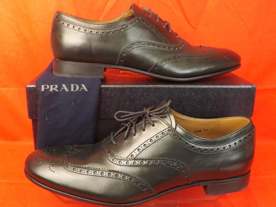 Prada Dark Green Mens Leather Lace Up Wingtip Perforated Oxfords 11