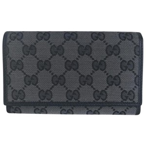 Gucci metallic gray black GG trifold French wallet