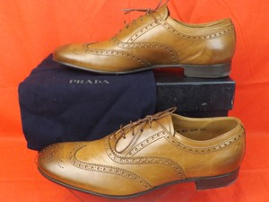 Prada New Oak Mens Leather Lace Up Wingtip Perforated Oxfords 10.5 11.5 Shoes