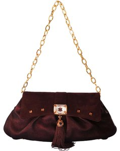 Judith Leiber Suede Chain Gold Hardware Crystal Metallic Brown Clutch
