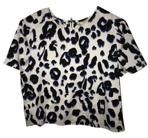 Banana Republic Leopard Animal Top White with blue and black print