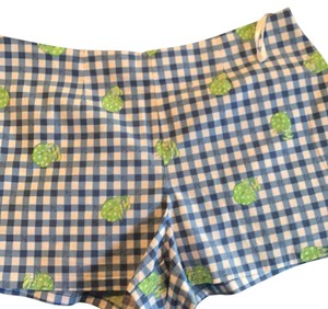 Lilly Pulitzer Mini/Short Shorts blue plaid with green hermit crabs
