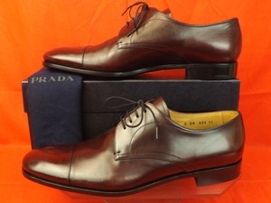 Prada Burgundy Mens Burnished Leather Lace Up Classic Oxfords 11 Us 12 Shoes
