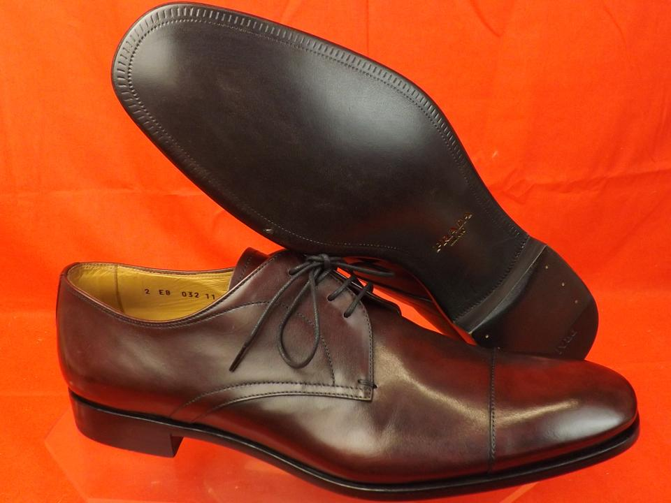 Oxfords 12 Us Prada Lace 11 Shoes Classic Burnished Burgundy Mens Up Leather qqAB0v