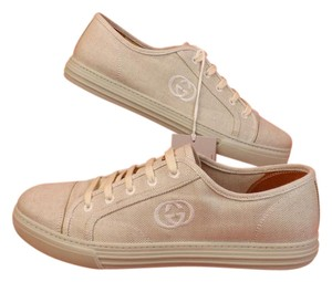 Gucci Beige Mens Canvas Interlocking Lace Up Trainer Sneakers 11.5 12.5 Shoes