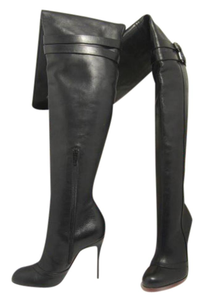 Christian Louboutin Black New 36it Seann Girl Leather Thigh High Heel Toe  Red Sole Otk Over Knee Boots Booties fcd306ad7