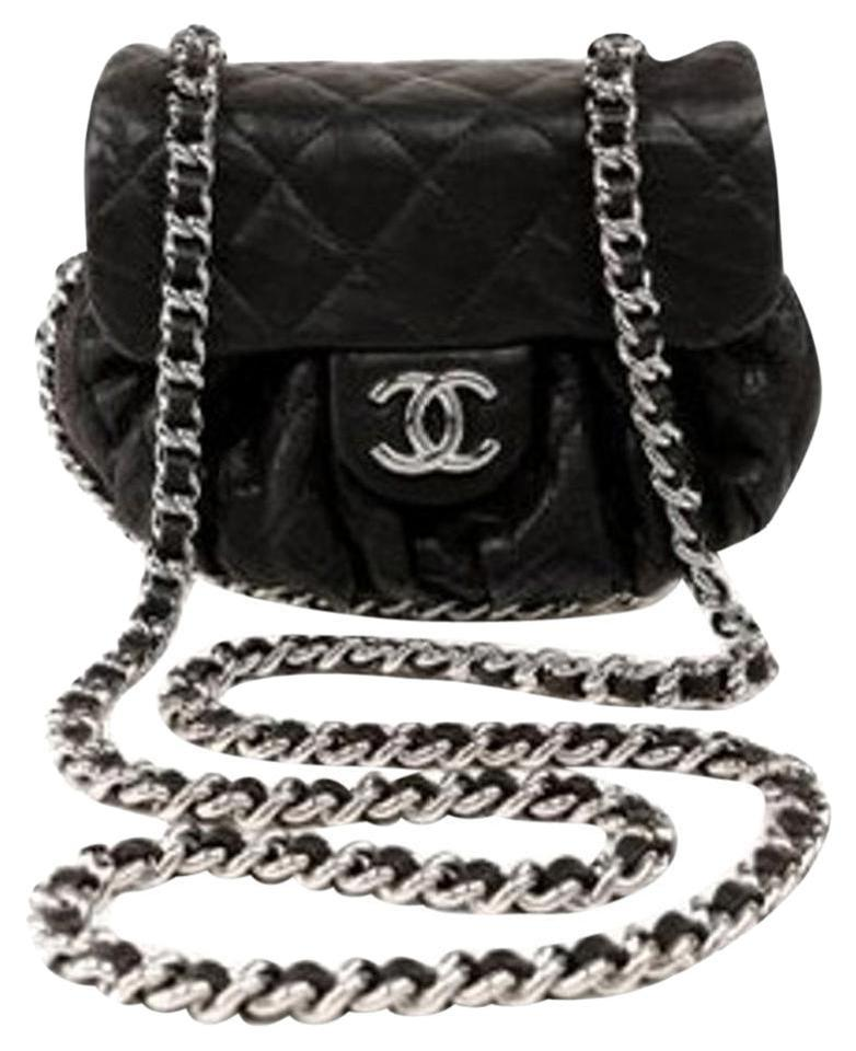 18e1b41e2429 Chanel Chain Me Around Classic Single Flap Mini Quilted Cc Black Calfskin  Leather Cross Body Bag