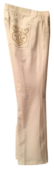 Item - White with Gold Studs Light Wash Collection Boot Cut Jeans Size 29 (6, M)