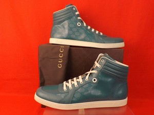 Gucci Turquoise Mens Imprime Leather Gg Guccissima Hi Top Sneakers 10.5 11.5 Shoes
