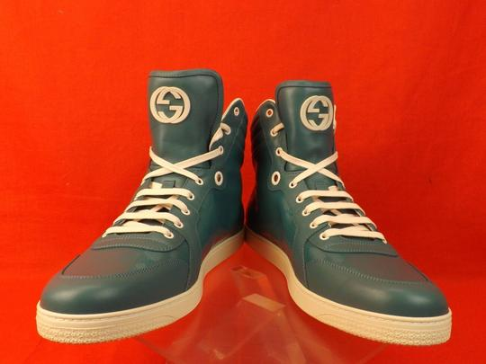 Gucci Turquoise Mens Imprime Leather Gg Guccissima Hi Top Sneakers 10.5 11.5 Shoes Image 1