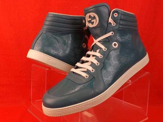 Gucci Turquoise Mens Imprime Leather Gg Guccissima Hi Top Sneakers 10.5 11.5 Shoes Image 2