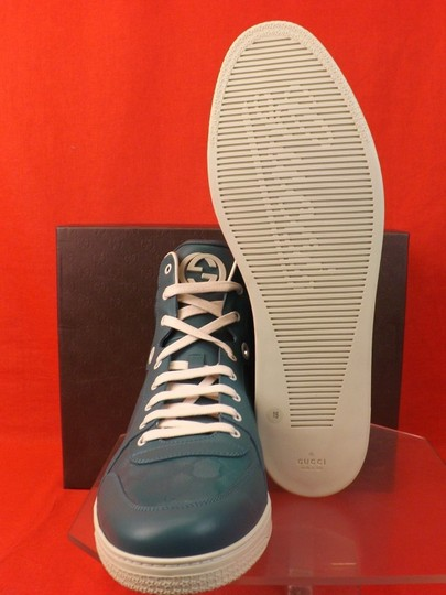 Gucci Turquoise Mens Imprime Leather Gg Guccissima Hi Top Sneakers 10.5 11.5 Shoes Image 3