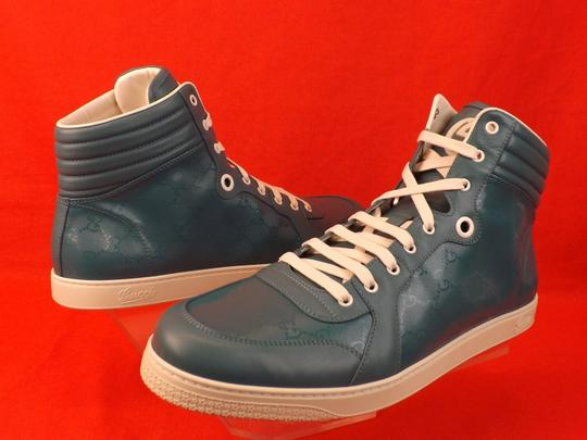 Gucci Turquoise Mens Imprime Leather Gg Guccissima Hi Top Sneakers 10.5 11.5 Shoes Image 4