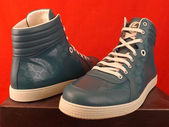 Gucci Turquoise Mens Imprime Leather Gg Guccissima Hi Top Sneakers 10.5 11.5 Shoes Image 5