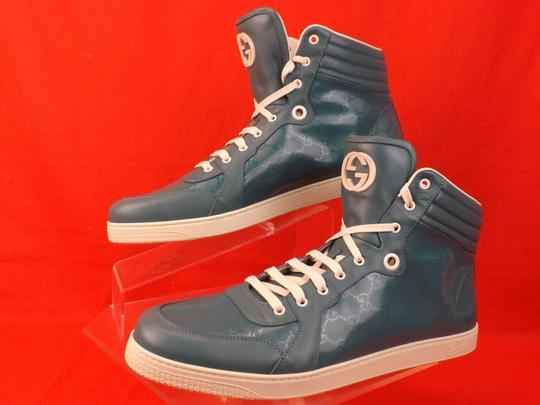 Gucci Turquoise Mens Imprime Leather Gg Guccissima Hi Top Sneakers 10.5 11.5 Shoes Image 6