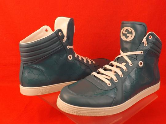 Gucci Turquoise Mens Imprime Leather Gg Guccissima Hi Top Sneakers 10.5 11.5 Shoes Image 7