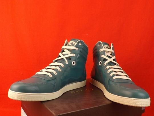 Gucci Turquoise Mens Imprime Leather Gg Guccissima Hi Top Sneakers 10.5 11.5 Shoes Image 8