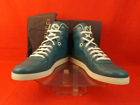 Gucci Turquoise Mens Imprime Leather Gg Guccissima Hi Top Sneakers 10.5 11.5 Shoes Image 9