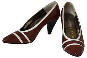 Roberto Vianni Kid Leather White Accents Brown Pumps