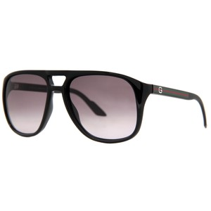 Gucci NEW Gucci 1018/S Shiny Black Stripe Logo Aviator Sunglasses