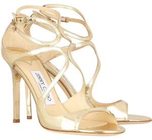 Jimmy Choo Lang Metallic Gold Sandals