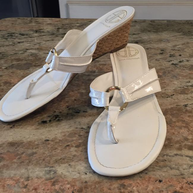 "Item - White ""Mckim"" Wedge Sandals Size US 9"