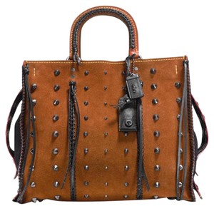 Coach 1941 Satchel in black and brown suede