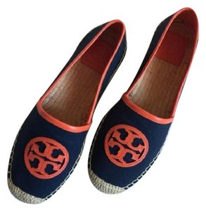 Tory Burch Burberry Gucci Prada Chanel Navy and Orange Flats