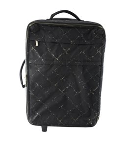 Chanel Chanel Black Canvas Roller Suit Case (125376)