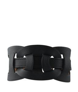 Hermes Hermes Black Leather Woven Wrap Bracelet (125379)