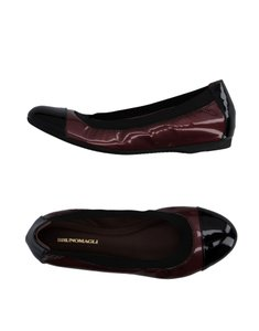 Bruno Magli Ballet Goat Skin Leather Black/Garnet Flats