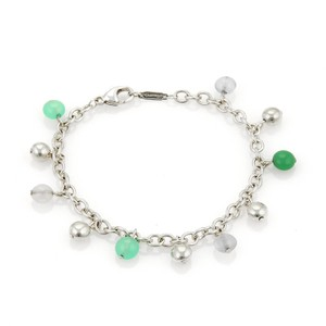 Tiffany & Co. 18490 - Multi-Color Gems Sterling Silver Bead Charm Chain Bracelet